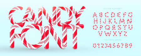 Candy font. Vector alphabet and numbers. Sweet candy, lollipop latin letters. White letters with red stripes. Circus and clown monogram and poster template. Typography design