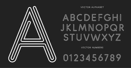 Line letters and numbers set on black background. Monochrome vector latin alphabet. Lacing white font. Rope ABC, maze monogram and poster template. Typography design