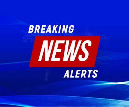 News alerts banner, blue background, breaking news banner, tv design element, report online, vector illustration.