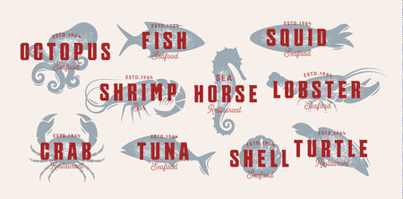 Seafood vintage logo set. Sea creatures, fishing or restaurant emblems. Retro style logo template. Modern emblem idea. Concept design for business. Isolated vector illustration on white background.