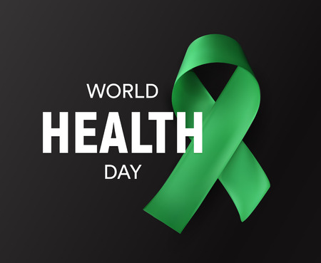 World health day icon. Green ribbon, Health promotion, medical symbol. Healthcare concept design. Isolated vector illustration.