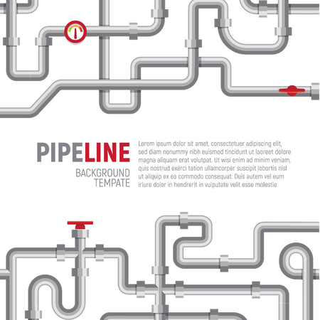 Pipelines poster concept. Pipes pattern, boiler room, piping, plumbing banner design template for marketing, social media, advertising, interior or web. Vector graphic. EPS10