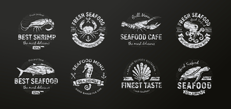 Seafood icon. Sea creatures, animals chalked on a school blackboard, seafood silhouette, retro style. Black and white chalk drawing logo template. Vintage emblem idea, concept design. Vectors
