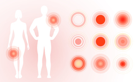 Pain icon on human body. Red pain rings, concentric circles. Flat simple concept design. Isolated vector illustration on blank background Vector Illustration