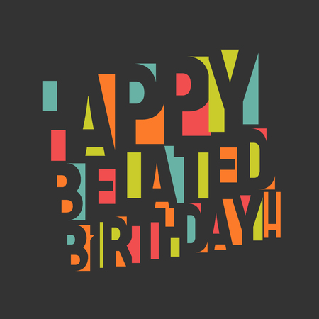 Greeting card for birthday. Colorful letters and confetti on black background. Happy birthday Congrats vector illustration. Negative space lettering design Vector Illustratie