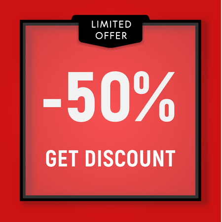 Sale 50 percent off, get discount website button. Shop window, behind glass design. Sale in black frame on red background vector illustration Иллюстрация