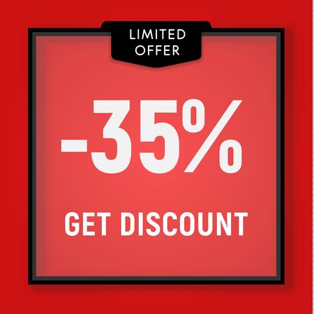 Sale 35 percent off, get discount website button. Shop window, behind glass design. vector illustration. Illustration