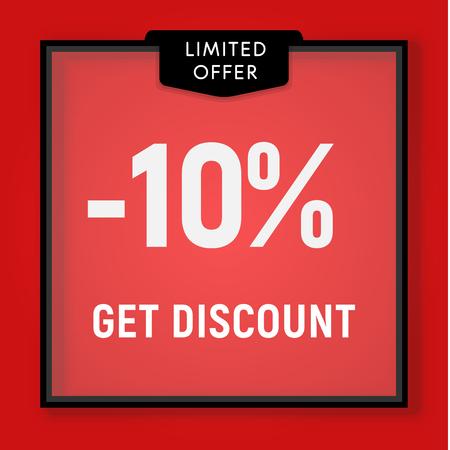 Sale 10 percent off, get discount website button. Shop window, behind glass design. vector illustration.