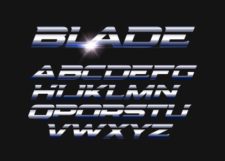 Klingenvektorbuchstaben eingestellt. Geschlitztes Alphabet mit glatter Stahlstruktur. Elegantes lateinisches Alphabet im Metallstil. Typografie-Design.