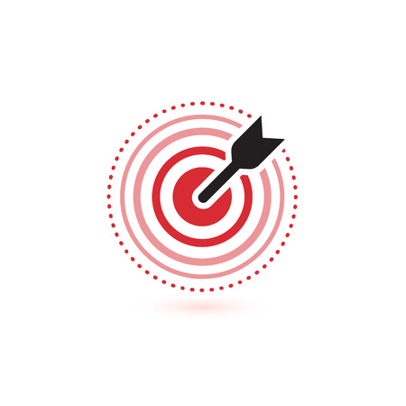 Arrow hit target vector icons. flat winner symbol template. Modern emblem idea. Concept design for business. Isolated vector illustration on white background.