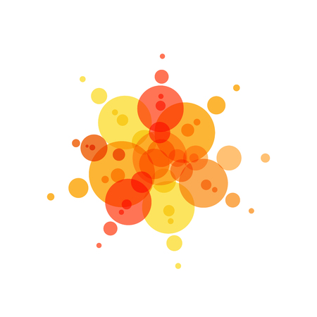 Festive icon. Red, yellow and orange circles, abstract fireworks, summer sun. Flat simple logo template. Modern emblem idea. Isolated vector illustration on white background.