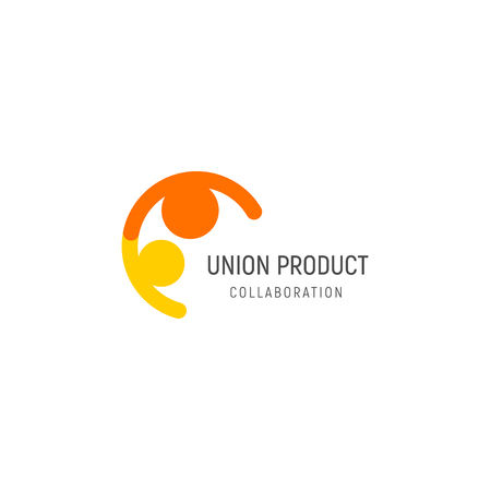 Isolated union illustration. Friendly people holding hands logo. Collaboration logotype. Human vector icon
