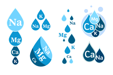 Set of Mineral water icon. Blue drops with mineral designations. Simple flat logos template. Healthy water modern emblems idea. Isolated vector simple sign collection on white background