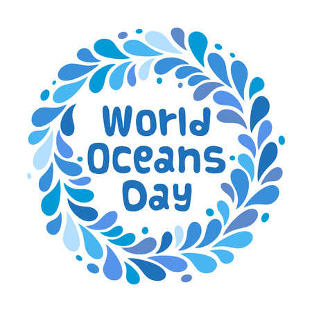 World Oceans Day design template. Ocean health protect graphic symbol. Nature care logo. Environment planet Isolated vector illustration.