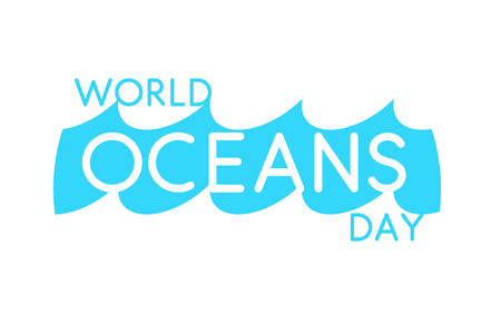 World Oceans Day design template. Ocean health protect graphic symbol. Nature care logo. Environment planet Isolated vector illustration. Иллюстрация
