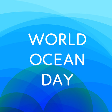 World Oceans Day design template. Ocean health protect background. Nature care banner. Environment planet Isolated vector illustration.