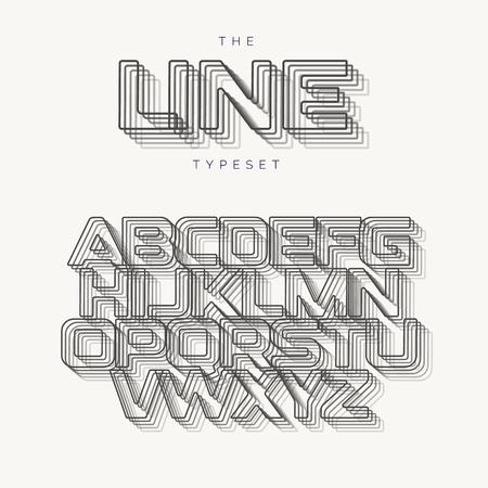 Outline modern alphabet, line vector typeset, blend effect letters. Best typography design for banner, poster, flyer and presentation. Monogram logo template.