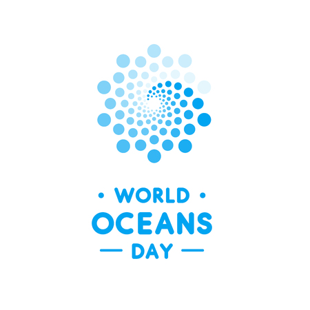 World Oceans Day design template. Ocean health protect graphic symbol. Nature care logo. Environment planet Isolated vector illustration. Illusztráció