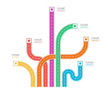 Road tracks direction map top view, colorful vector illustration on white backgroud, web infographic elements. Ilustração
