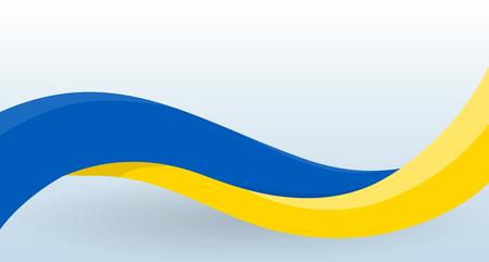 Ukrainian Waving National flag. Design template for decoration of flyer and card, poster, banner and logo. Isolated vector illustration.