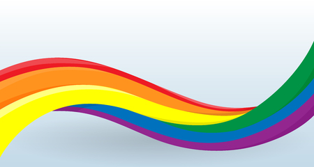 Rainbow flag, LGBT movement. Modern unusual shape. Lesbian, gay, bisexual, and transgender symbols. Design template for decoration of flyer and card, poster, banner and logo. Isolated vectors.