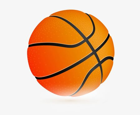 Sport icon. Basketball ball, simple flat template. Modern emblem for sport news or team. Isolated vector illustration.