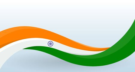 India National flag. Waving unusual shape.  イラスト・ベクター素材