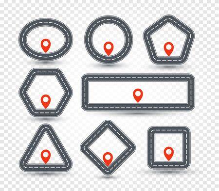 Isolierte geometrische Pin-Set, Straßenschild-Sammlung, Standortsymbol, geometrische Form-Kartenpunkt-Vektor-Illustration.