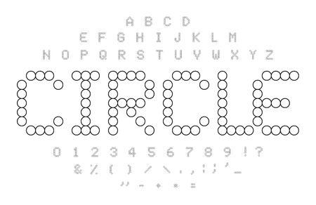 Circle contours alphabet. Black and white simple dotted letters, numbers and symbols set. Mosaic tiles shape. Circle puzzle font concept.