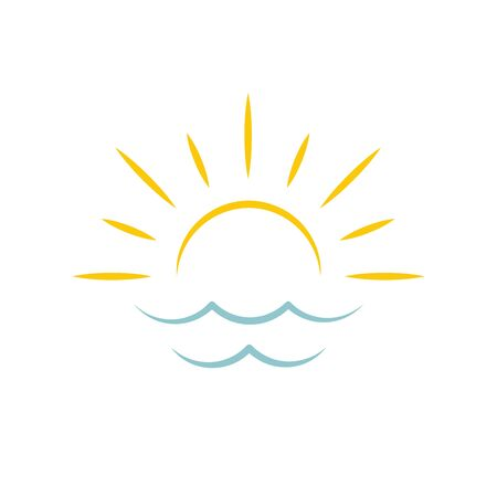 Dawn on sea. Sun icon. Travel agency emblem concept