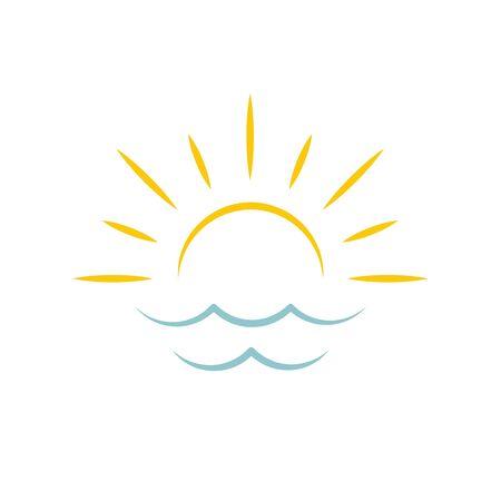 Dawn on sea. Sun icon. Travel agency emblem concept