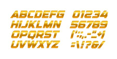 Gold letters and numbers set. Golden gradient style vector latin alphabet. Italic bold typography design.