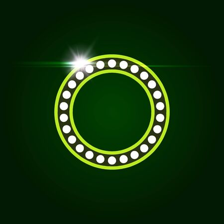 Casino and resort Letter O. Luxury letter with gems. Glowing effect, highlight on letter border. Entertainment decoration element.