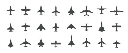 Aircraft top view icon set. Set of black silhouette airplanes, jets, airliners and retro planes icons.