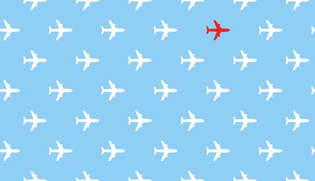Airplanes group fly in one direction and only one airplane highlighted in red and think to change direction on blue sky background. Business concept pattern for innovative creative solution.