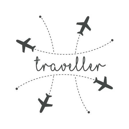 Traveller logo concept. Lettering traveler, with flying airplanes around the inscription. Flying plane along route, zigzag line. Airplane in the sky with text, vector template of sign. Иллюстрация