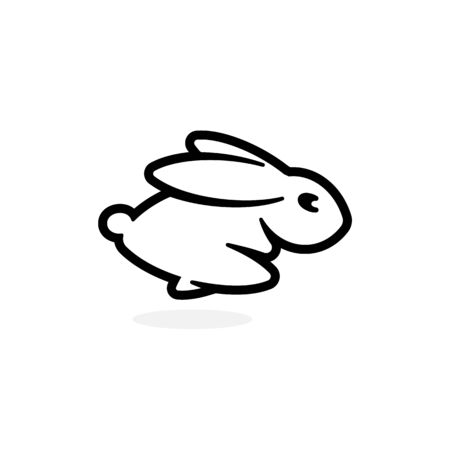 Leveret emblem template. Running Rabbit icon. Simple black outline Hare silhouette logo template. Modern concept design. Isolated Bunny vector illustration on white background.