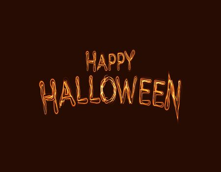 Happy Halloween Holiday scary vector text on black background. Halloween celebration card design.