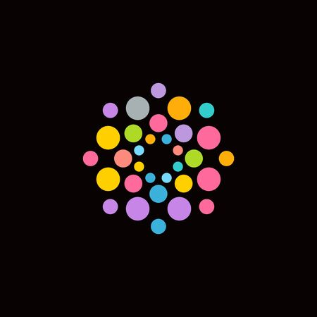 Colorful balls logo concept. Ideal for Fireworks or blower bubbles or confetti show identity. Vector logotype template.