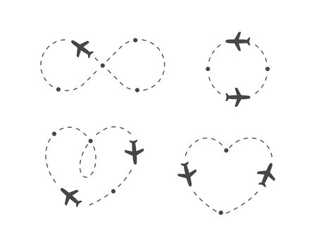 Airplane dotted route, icon set. Plane silhouette and flight path.