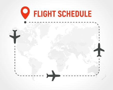 Blank Flight schedule, border of frame on political world map background. Airplane route with planes on path and pin on destination place. Vector illustration. Illustration