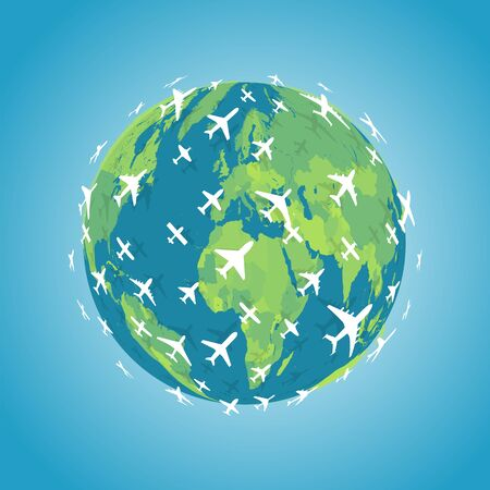 Many white planes flying in  direction around earth. Intercontinental flight of planes icon. Around the world trip emblem. Aviation navigation vector illustration.