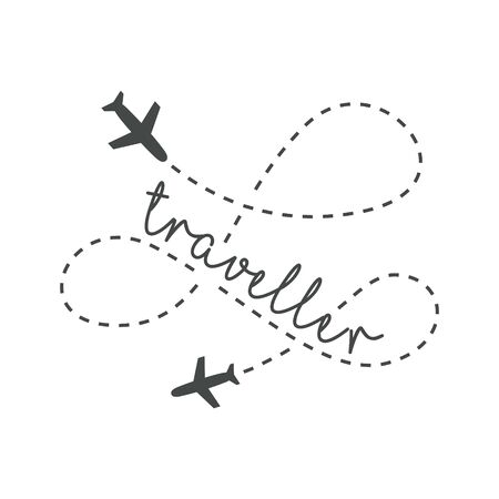 Traveler concept. Lettering traveler, with flying airplanes around the inscription. Flying plane along route, zigzag line. Airplane in the sky with text, vector template of sign.