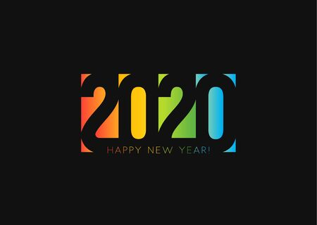 Happy New Year 2020. Negative space style design, cut out numbers from colored paper. Stock Illustratie