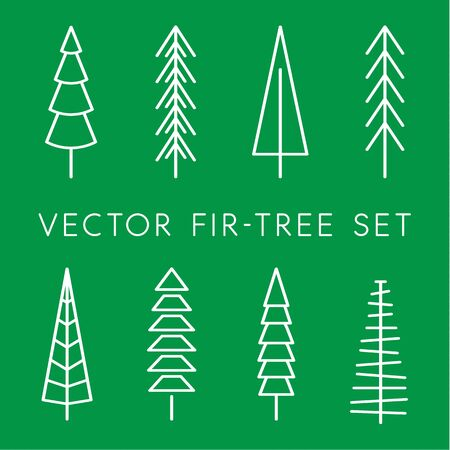 Tree vector icon set. Pine line, linear, outline  . Isolated nature icons. Simple flat vector illustration for Christmas decoration.