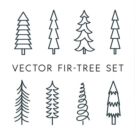 Tree vector icon set. Pine line, linear, outline  . Isolated nature icons. Çizim