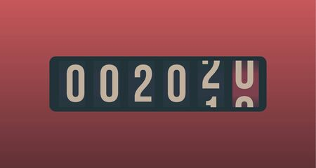 2020 New Year. Analog counter display, retro style design. Vector illustration. Stock Illustratie