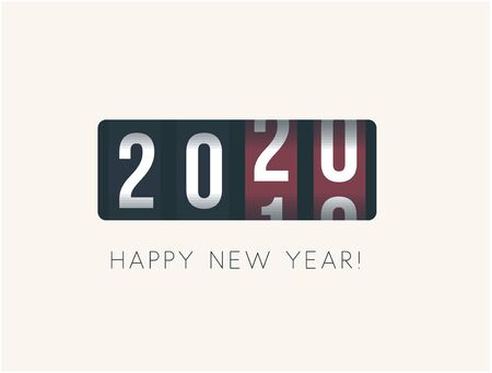 2020 New Year. Analog counter display, retro style design. Vector illustration. Stock Illustratie