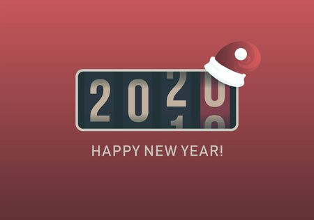 2020 New Year. Analog counter display with christmas santa hat, retro style design. Vector illustration. Stock Illustratie
