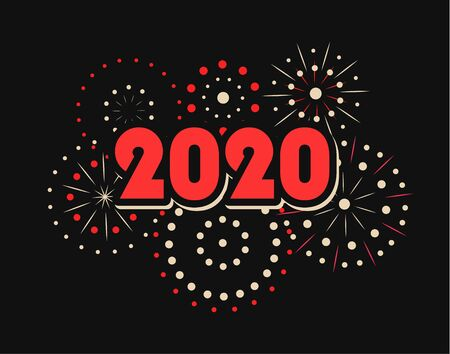 Happy New Year 2020 numbers with fireworks, vector illustration.